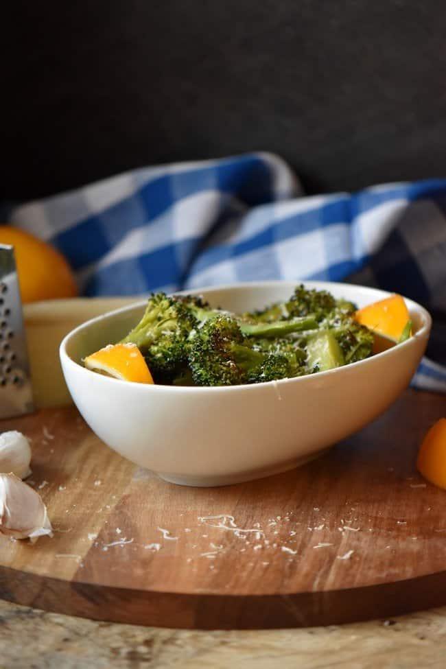 Oven roasted broccoli with lemon.