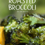 A close up of an oven roasted broccoli.
