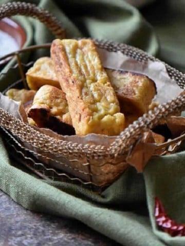 Healthy Sicilian panelle in a basket.