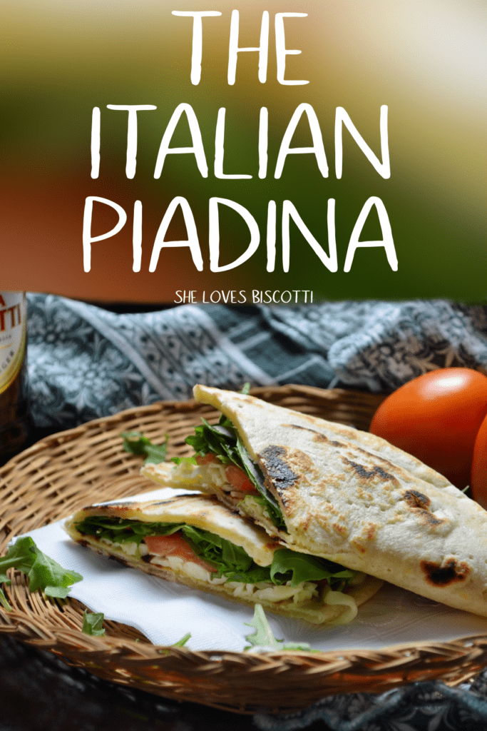 The Vegetarian Piadina Sandwich in a wicker basket.