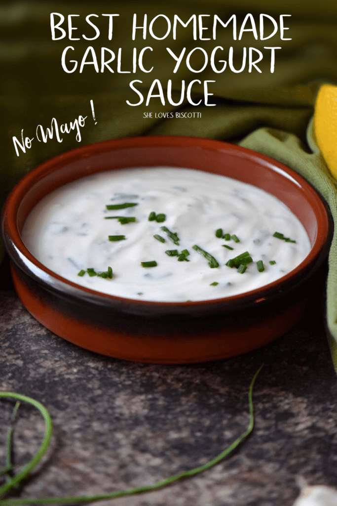 A bowl of Best Homemade Garlic Yogurt Sauce