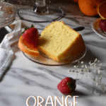 A piece of orange chiffon cake.