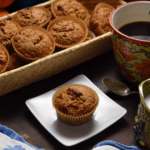 A basket of Orange Date Muffins.