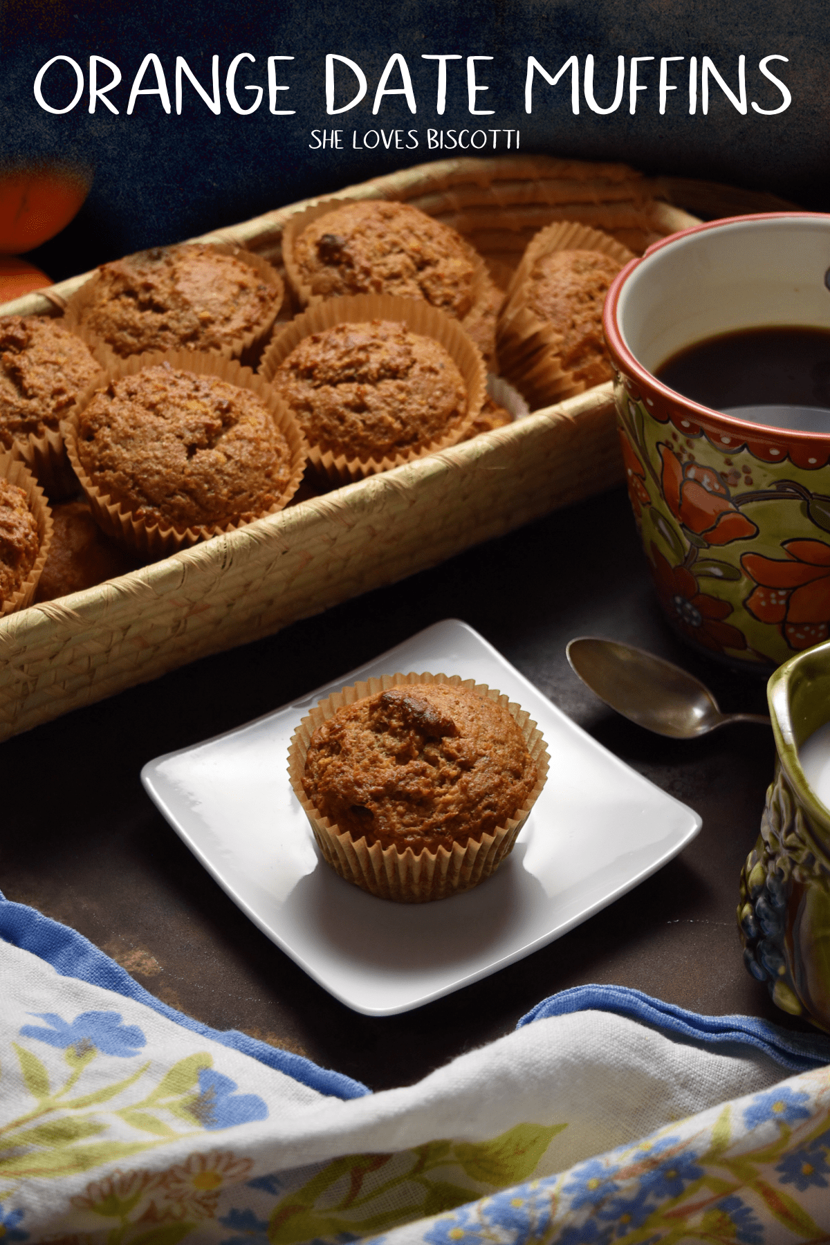 Easy Whole Grain Orange Date Muffins: An easy muffin recipe that is also so healthy.  #shelovesbiscotti #easymuffinrecipe #easymuffin #healthymuffin #orangedatemuffin #muffins #easyrecipe