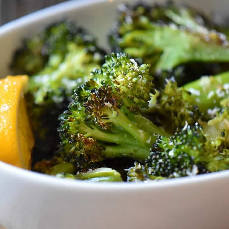 The crispy edges of oven roasted broccoli.