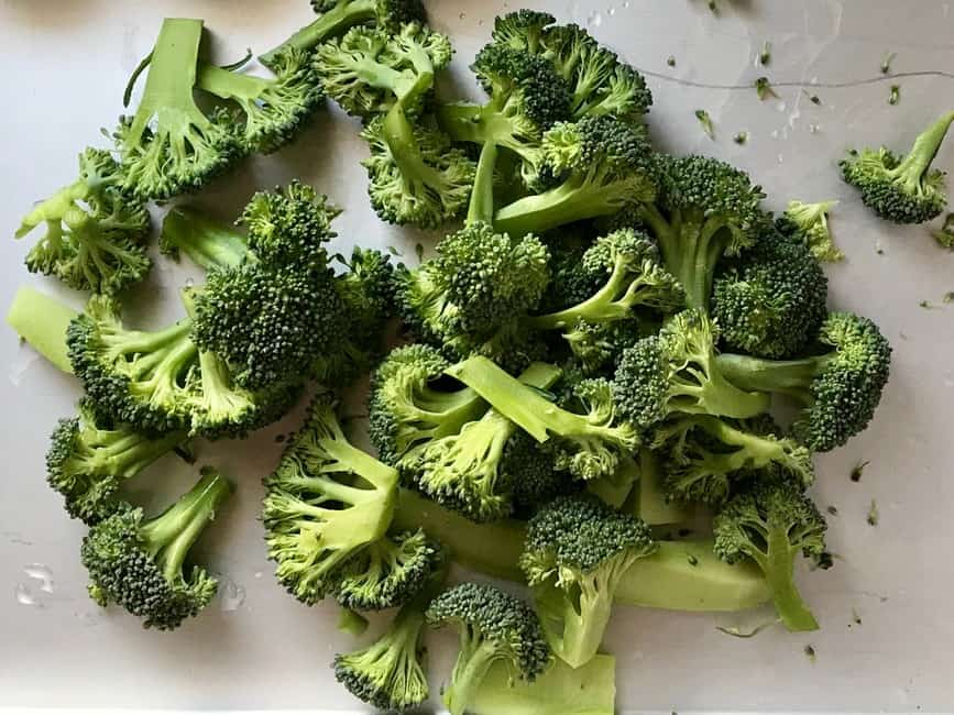 Trimmed and chopped broccoli.