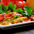 A dish of Marinated Roasted Bell Peppers
