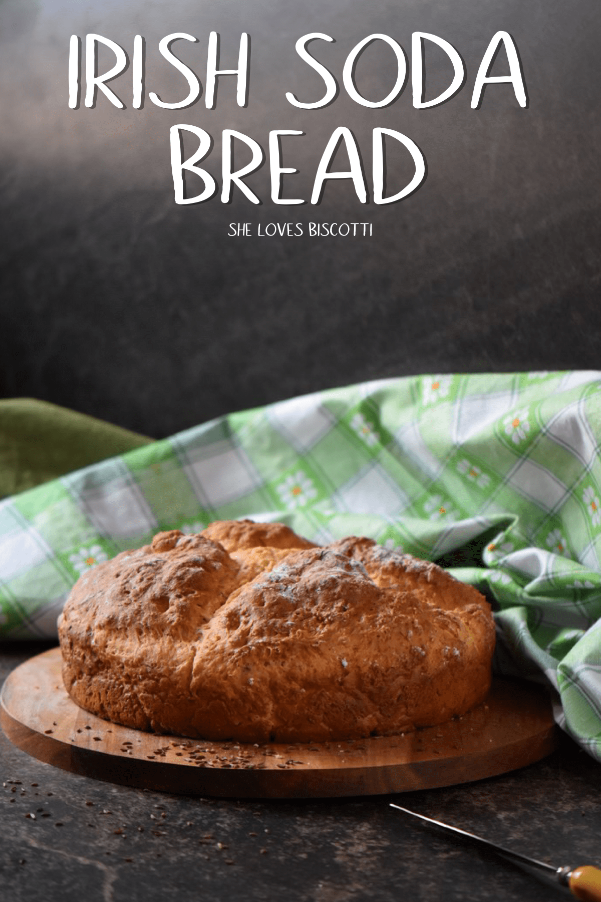 This easy, quick bread recipe will provide you with a tasty and thick crusted Irish soda bread.In the short amount of time it takes for your oven to preheat, you can whip up the batter for this Non Traditional Irish Soda Bread. #shelovesbiscotti #irishsodabread #sodabread #stpatricksrecipe #irishrecipe #quickbread #caraway #march17