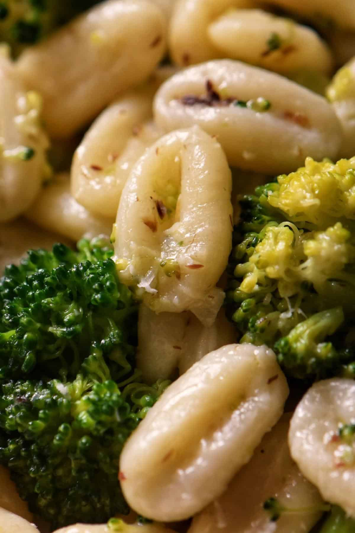 Broccoli and cavatelli combined in a large skillet.