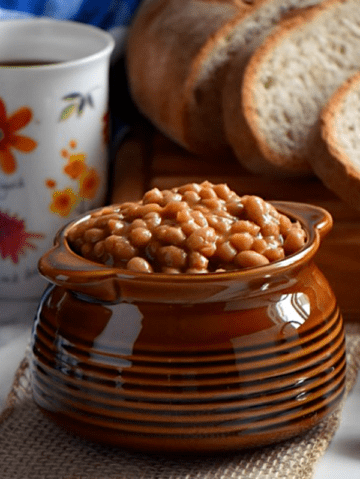 A big bowl of baked beans.