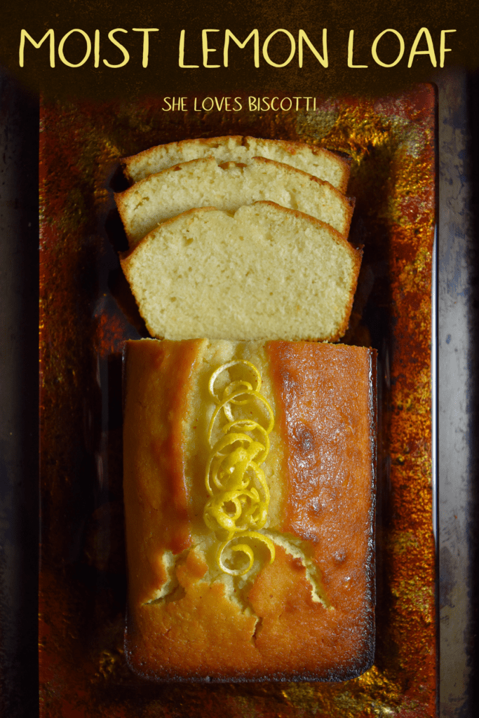 Top view of a sliced lemon loaf.