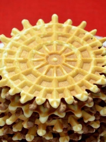 A stack of Italian wafer cookies, pizzelle.