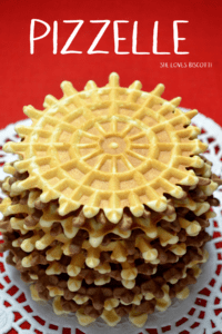 A few stacks of the vanilla and chocolate Pizzelle della nonna.