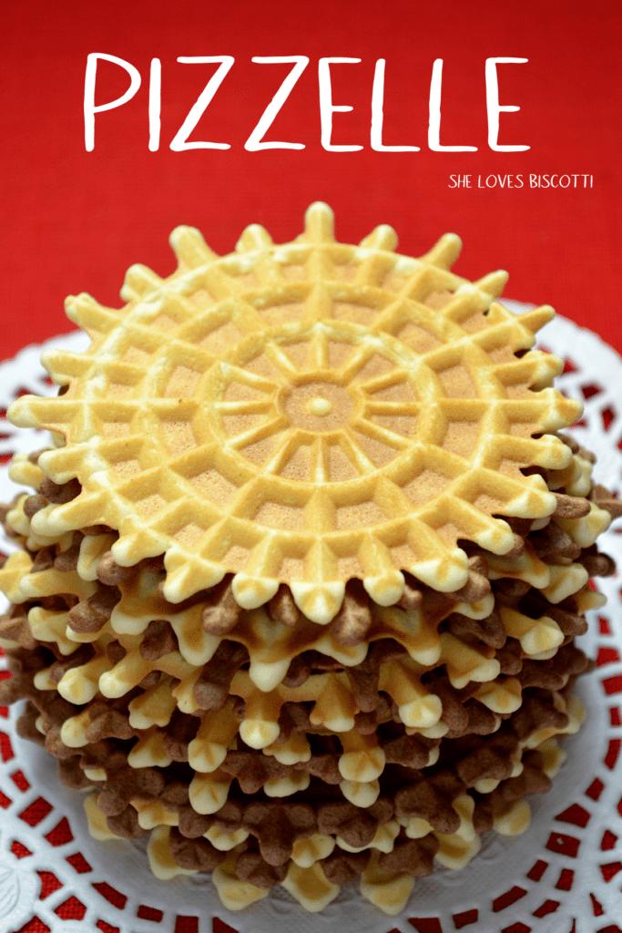 A few stacks of the vanilla and chocolate Pizzelle della nonna.