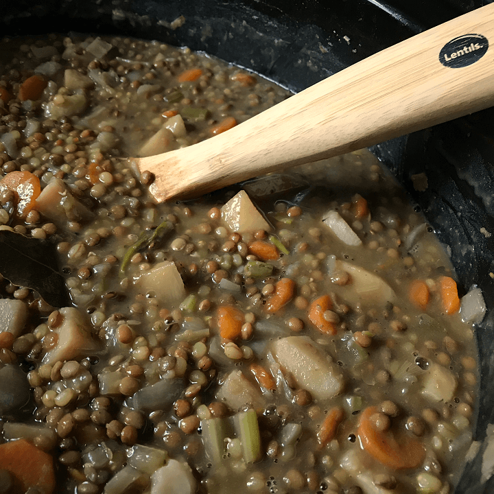 Meal Prep Italian Slow Cooker Lentil Stew is ready to be served.