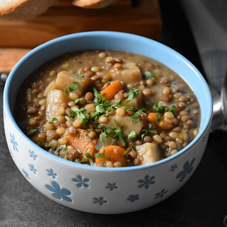 A bowl of hearty and nutritious lentil stew.
