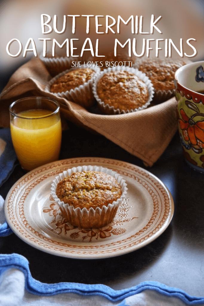 Freshly made Lemon Poppy Seed Buttermilk Oatmeal Muffins