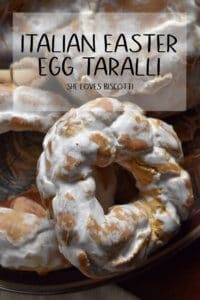 A large close up of an iced Italian Easter Egg Taralli.