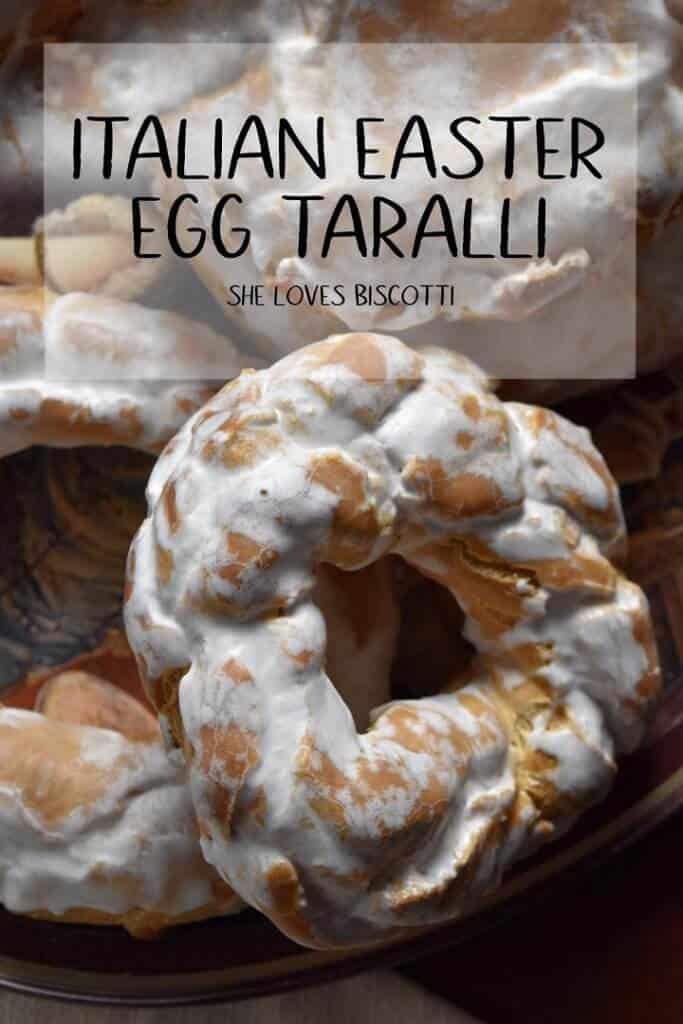 A large close up of an iced Italian Easter Egg Taralli.