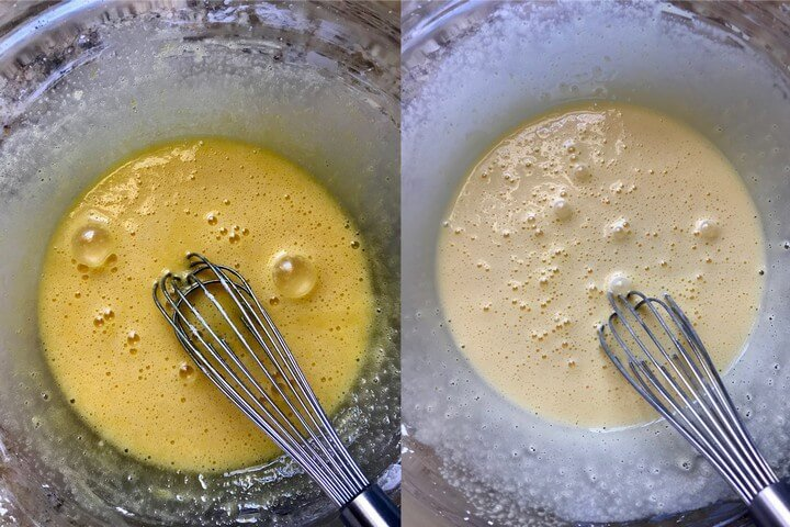 The before and after pictures of the color changes of whisking eggs, cornstarch and sugar together for a few minutes.