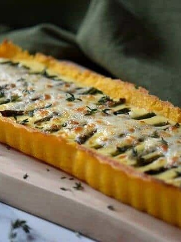 A front view of the Asparagus Ricotta Tart.