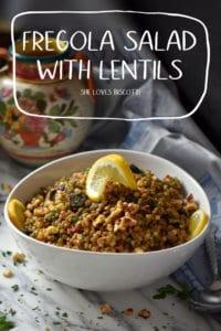 A pinterest pin entitled fregola salad with lentils.