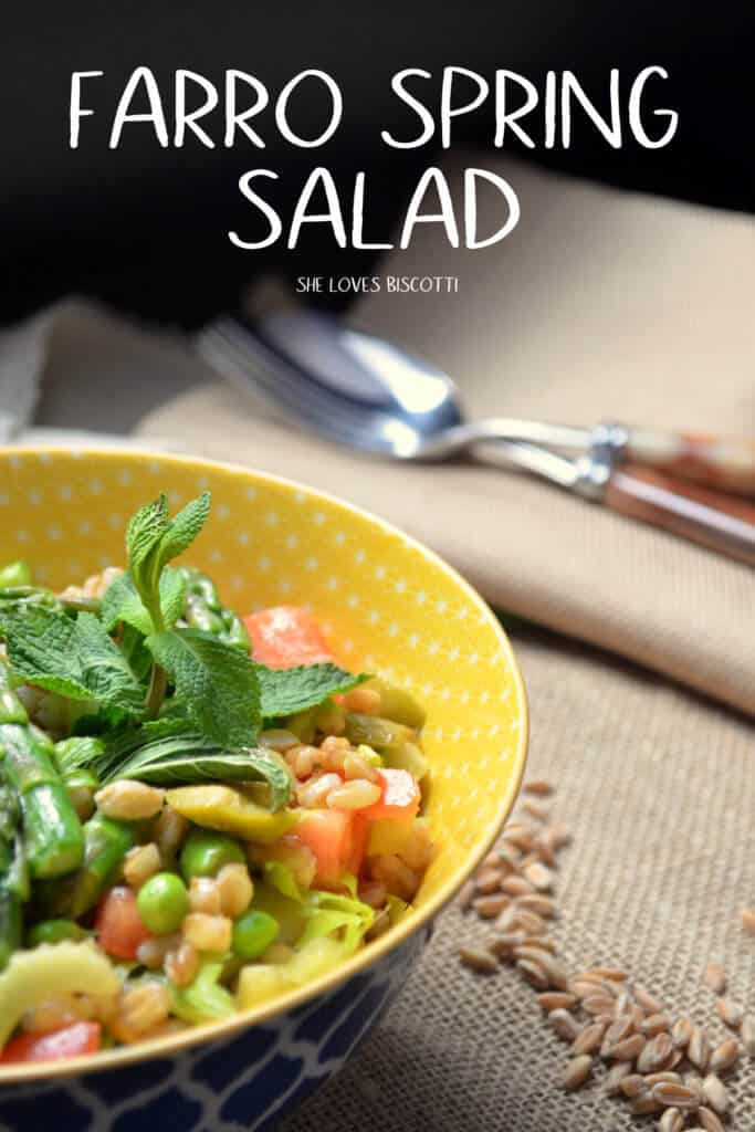The colorful combination of peas, asparagus and mint with farro in a yellow patterned bowl.