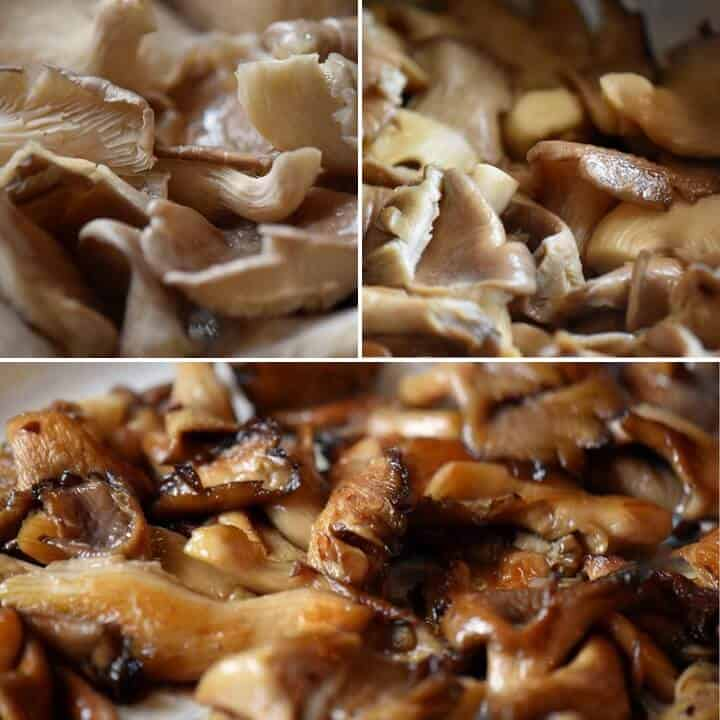 Three pictures showing the transformation of oyster mushrooms from raw to caramelized.