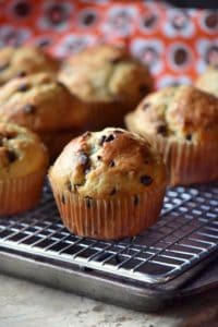 A chocolate chip muffin on a cooling rack.
