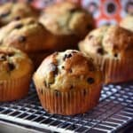 A close up of the chocolate chip muffins.