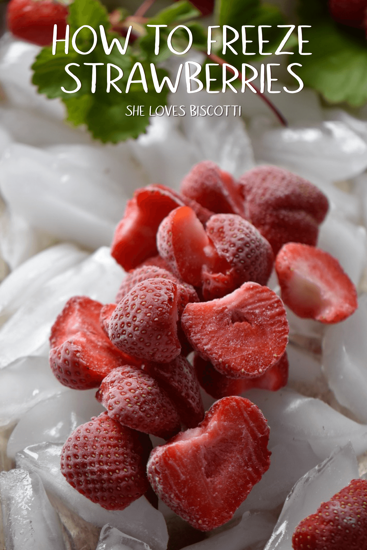 How to freeze strawberries the right way so that you have the option of thawing out the exact amount that you need. #shelovesbiscotti #strawberries #diy #howtofreezestrawberries #howto #strawberry #frozenberry #smoothies #smoothie