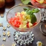 A close up shot of strawberry kiwi granita.
