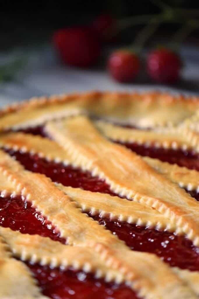 A close up shot of the lattice design on the jam crostata.