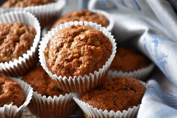A stack of moist banana muffins.