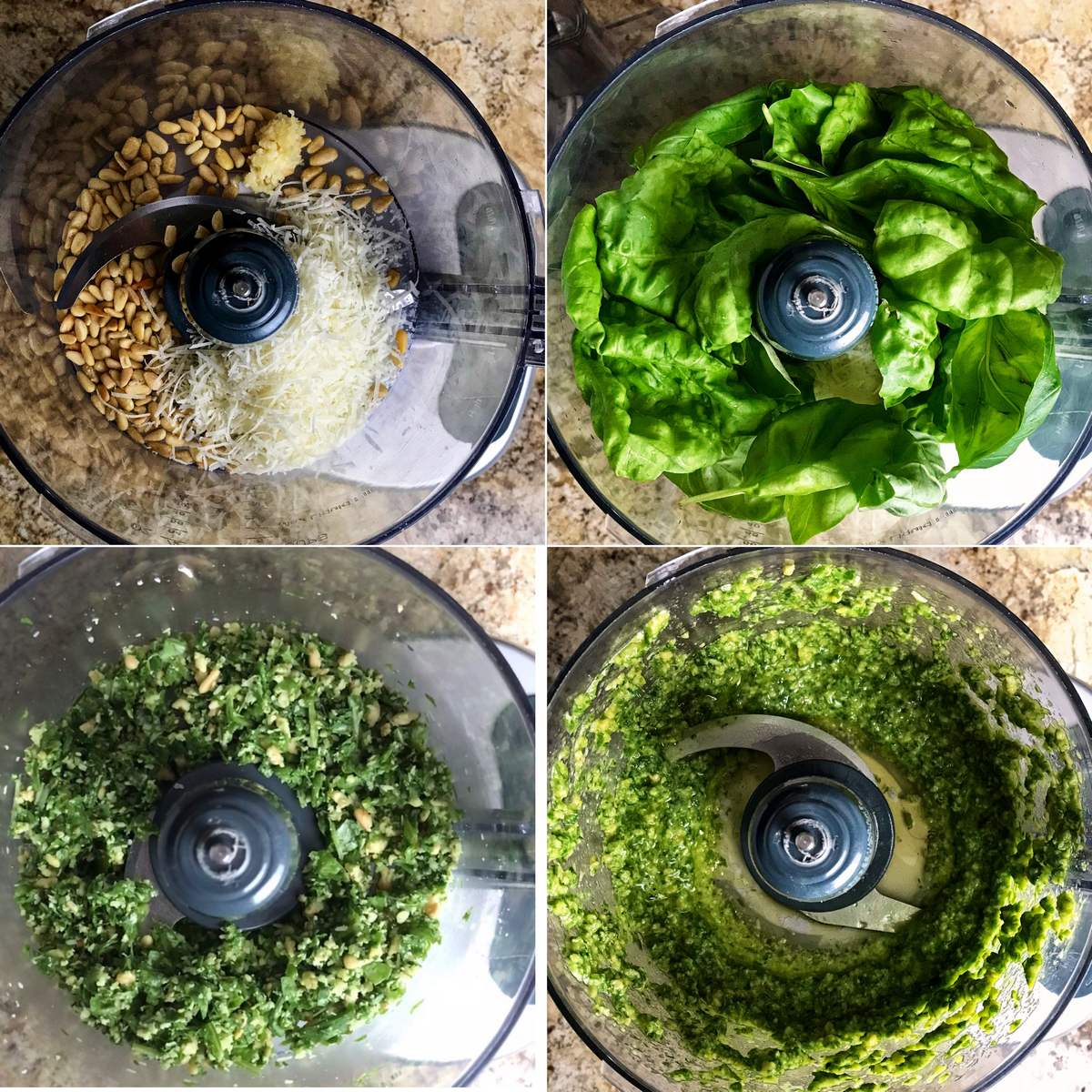 Some of the steps to making pesto are shown. 1-gently pulse toasted pine nuts, Romano cheese and minced garlic together. 2-add the fresh basil leaves and pulse 3-