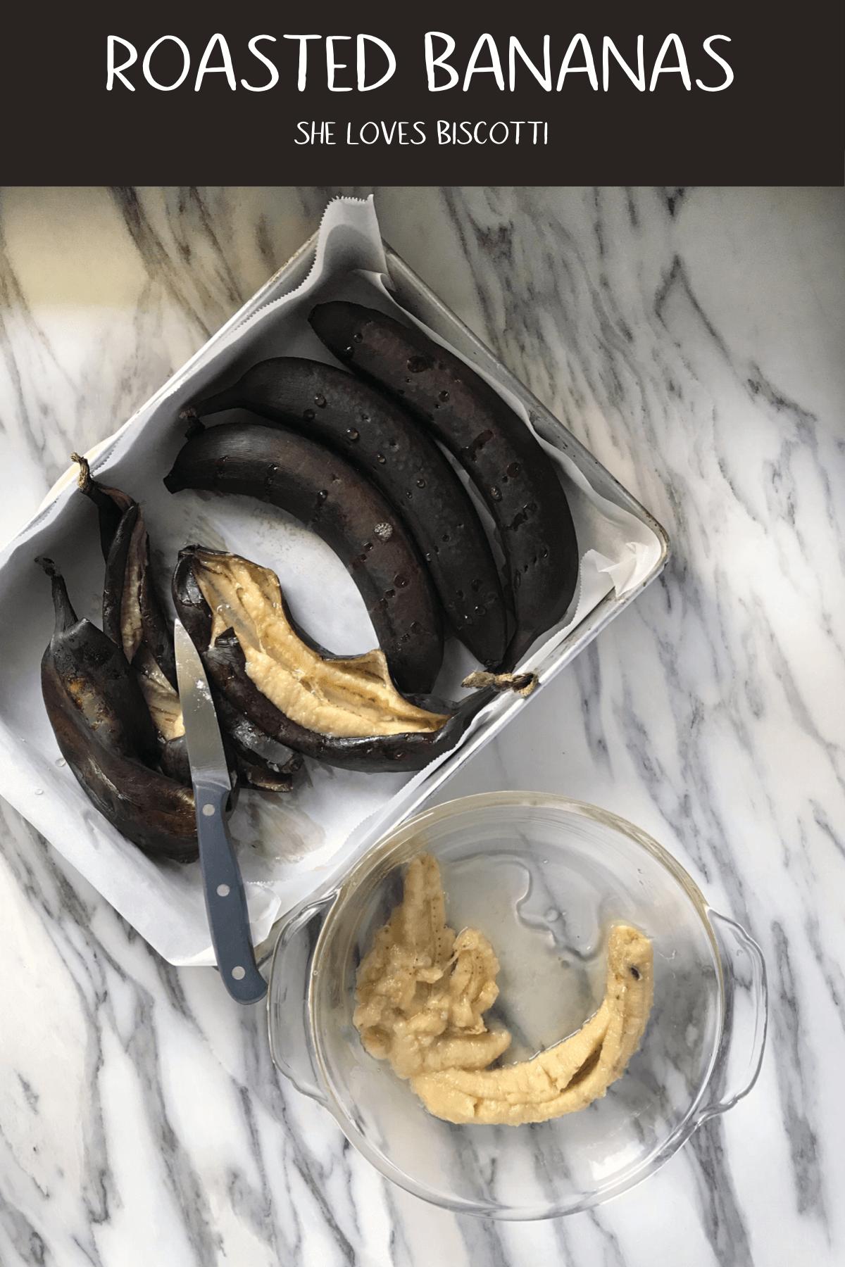 Roasted bananas is the secret to the best banana bread and banana muffins. You gotta try this! #shelovesbiscotti #roastedbananas #bananabread #bestbananamuffins #howtoroastbananas