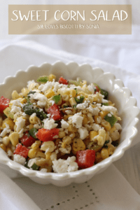 A colorful bowl of sweet corn salad.