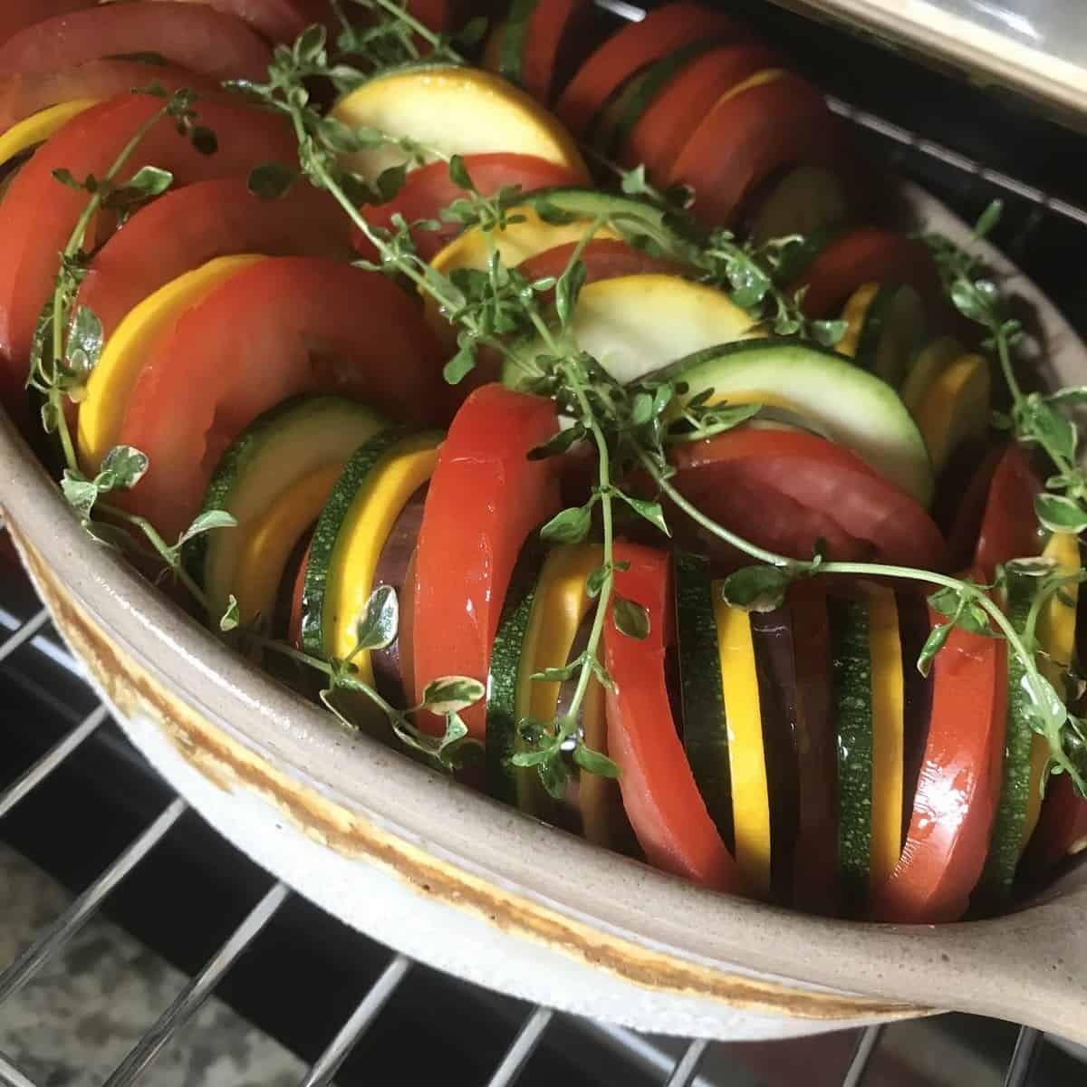 Mediterranean Roasted Vegetables in an oven.