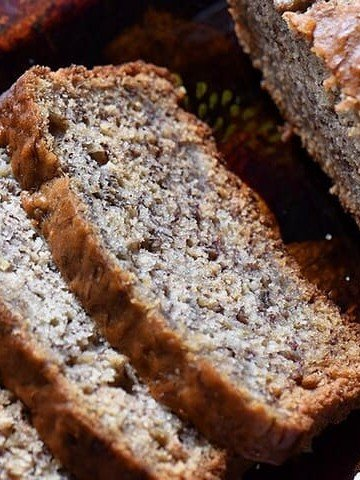 A close up of the tender crumb of this simple banana bread.