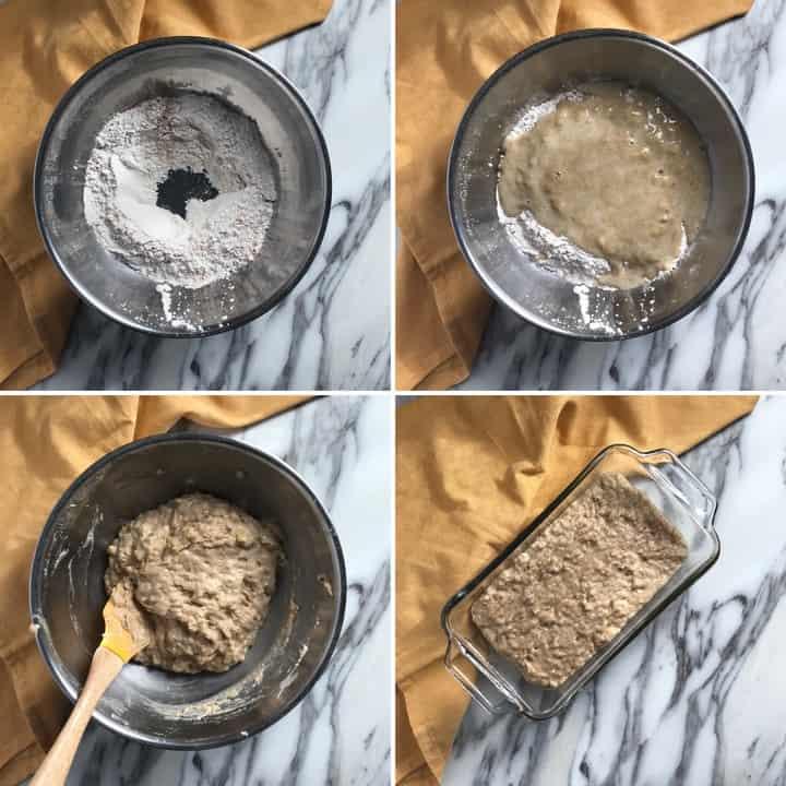 A series of 4 process shots to make this simple banana bread.