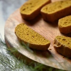 A close up of the texture of a pumpkin biscotti.