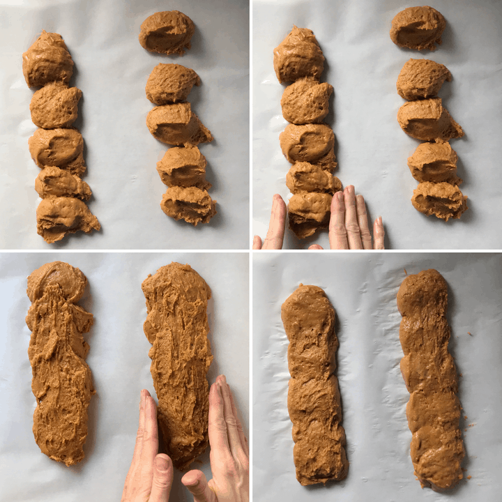 A series of four pictures showing how the loaves are formed in this easy biscotti recipe.