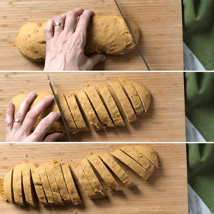 A series of 3 pictures showing how the pumpkin biscotti loaf is sliced into 1/2-inch slices.