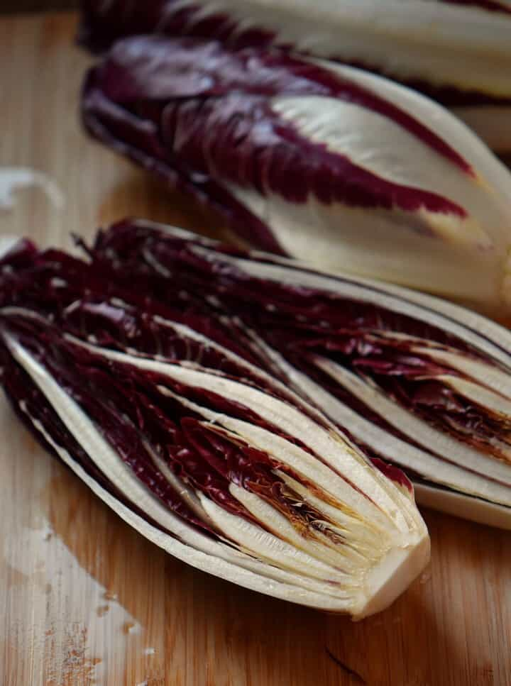 The interior of a sliced radicchio.