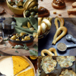 A photo collage of some Italian appetizers that are great for entertaining. Some examples include: marinated olives, eggplant caponata and marinated mozzarella balls.