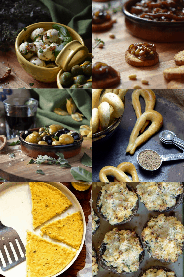 Are you looking for Italian appetizers to serve for your next party? Here are some easy finger food recipes. You won't believe how easy they are to make! #shelovesbiscotti #caponata #taralli #marinatedolives #mozzarella #cheeseplatter