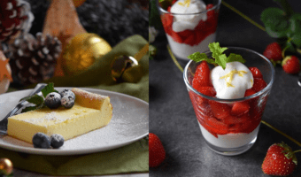 A picture of a slice of ricotta cake next to a picture of macerated strawberries with whipped ricotta. Just 2 examples of Ricotta Cheese recipes.