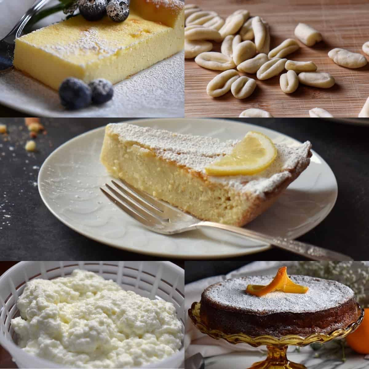 A photo collage of Ricotta Cheese Recipes, includes Ricotta Cake and Rice Ricotta Easter Pie.