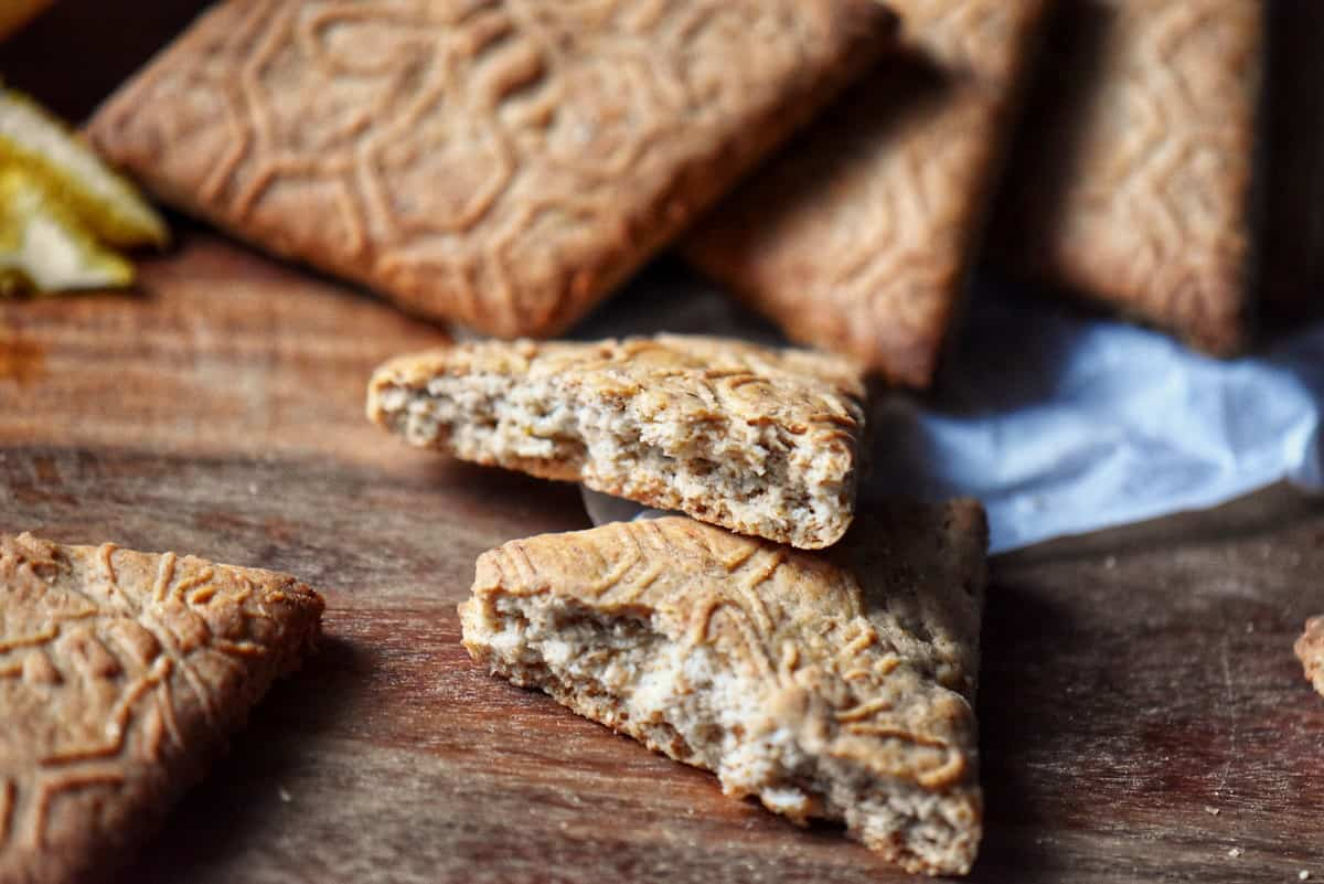 The texture of the whole wheat cookie is shown.