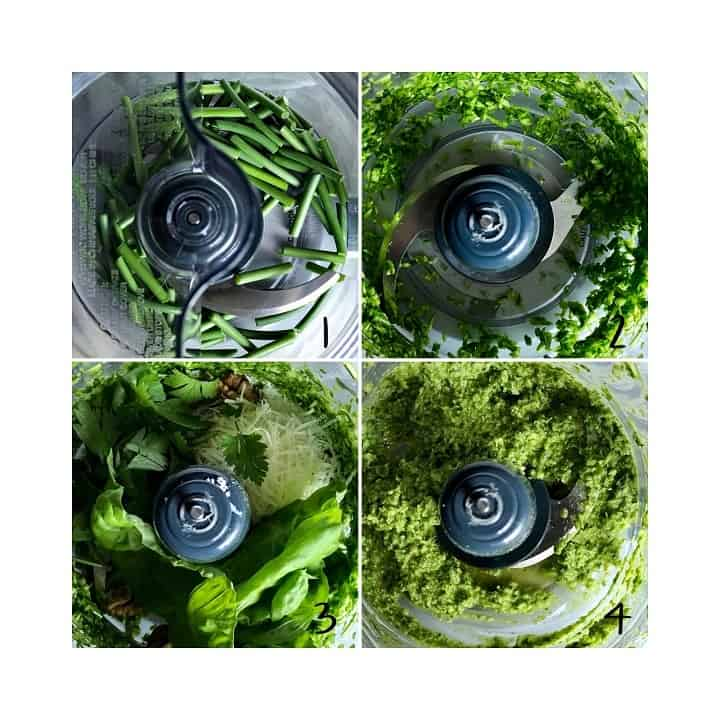 A series of process shots indicating how to make the garlic scape pesto in a food processor.
